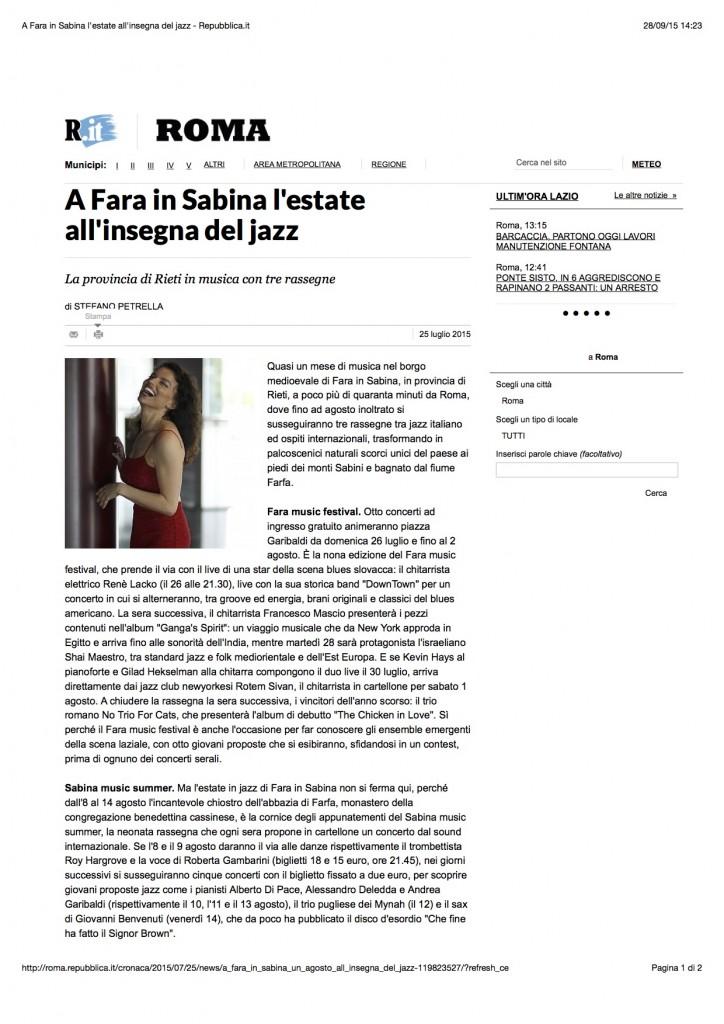 A Fara in Sabina l'estate all'insegna del jazz - Repubblica